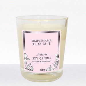 SimpleMamaHome - Natural Soy Candle 200g - Coconut Sandalwood