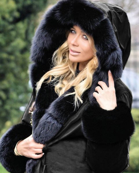 Black Hella Faux Fur Parka