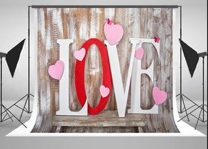 Vintage wooden board with heart background valentine's day photography backdrop