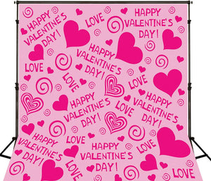 Pink Love Valentine's Day Microfiber Backdrops For Photographer