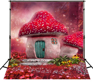 Mushrooms & Castle Photo Background Children Photography Backdrops