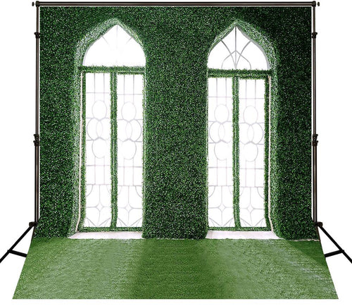 Grass-Covered Door Microfiber Photo Background Wedding Photography Backdrops