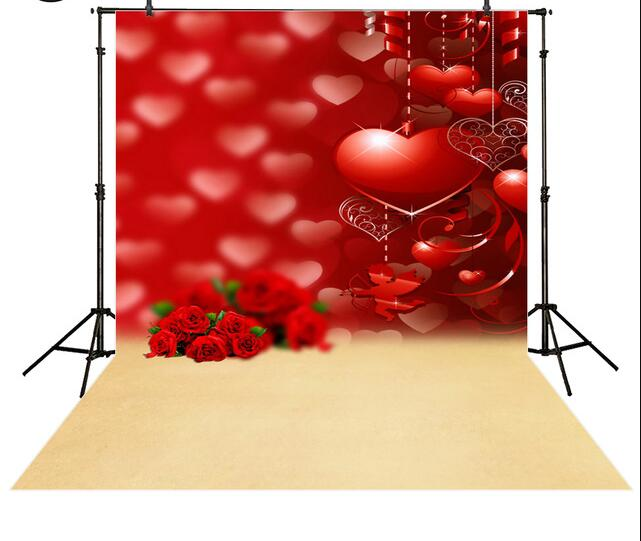 Red heart cupid rose background valentine day backdrops