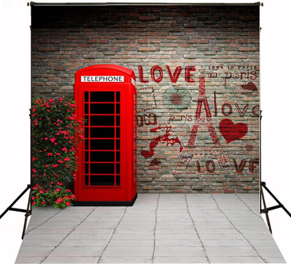 Romantic love printed brick wall and red telephone booth background for Valentine's day