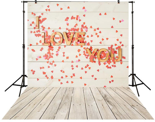 Love words and graphics background brick wall & wood floor photography backdrop for valentine's day