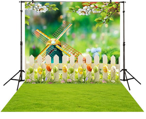 Easter windmill grass trees flower backdrop computer printing newborn photo studio photobooth
