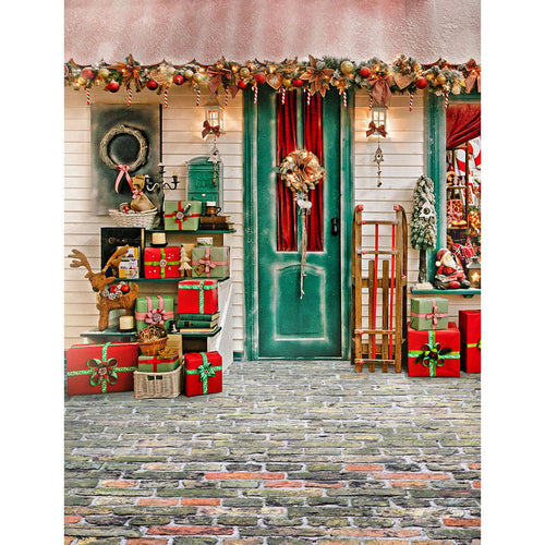 Christmas gift house background photography backdrop