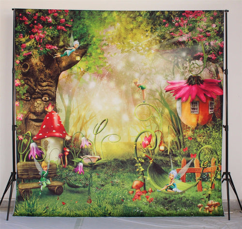 Fairy Tale Forest Children Photography Backdrops Mushrooms Elves Flowers Photo Background