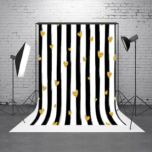 Black White Stripes Golden Heart Photography Background Valentine's Day Photography Backdrop