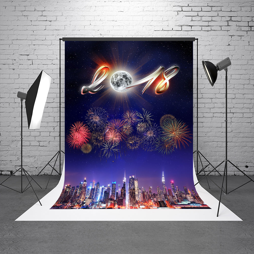 Happy New Year City Firecracker Photo Background  2018 Printed Photography Backdrops