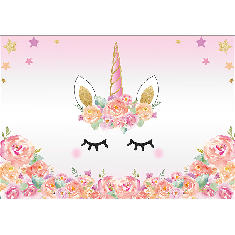 Pink unicorn photography backdrop birthday flower banner dessert table background photobooth photocall