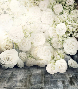 Scenery White Flower Floor Backgrounds Thick Cloth Photography Backdrops For Wedding