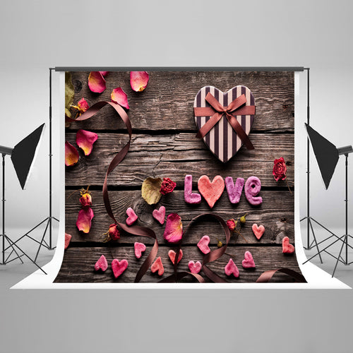 Dark Wood Love Chocolate Petals Background Valentine's Day Backdrops Children Photo Backdrops