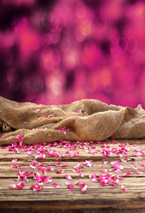 Rose Petals and Wood Floor Backgrounds Valentine's Day Photography  Backdrops