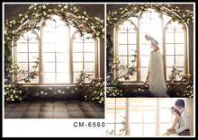Indoor Brick Floor & White Flowers Window Wedding Photography Backdrop