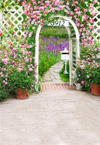 Backyard Flower Arched Door Photography Backgrounds For Wedding