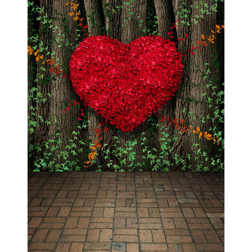 Big heart & Trees Photography Background Valentine's Day Backdrops