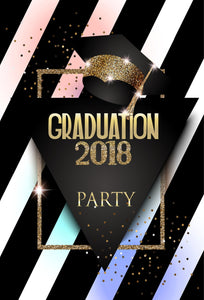 2018 High School Graduation Party Background Golden Glitter Backdrop