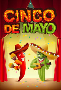 Mexico Cinco de Mayo Backgrounds Fiery Pepper and Cactus Backdrop for Celebration Red Stage & Children