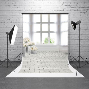 White Indoor Brick Wall Backgrounds Washable Wedding Photography Backdrop For Photo Studio
