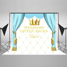 Blue Curtain Background Custom Children Happy Birthday Photography Backdrops