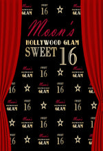 Red Curtain Hollywood Glam Background Sweet 16th Custom Birthday Party Backdrop