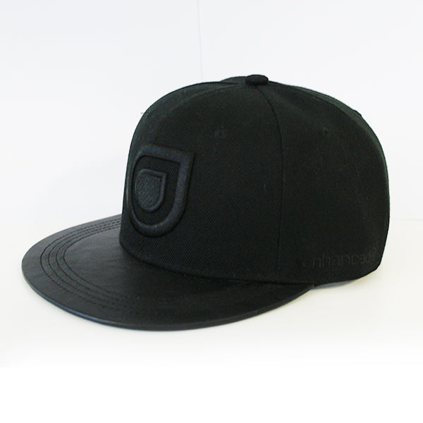 Enhanced Music Snapback - Black Leather