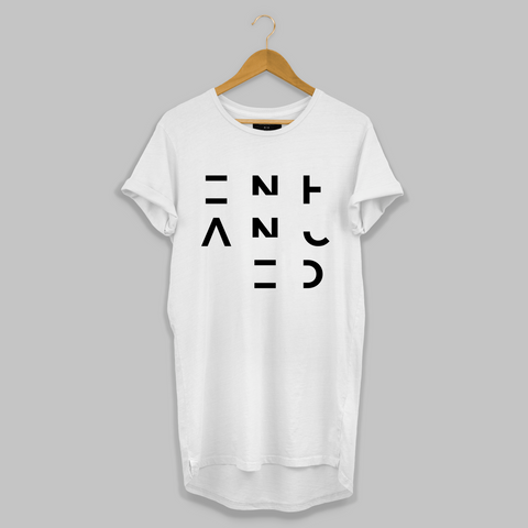 White 3x3 Enhanced Longline T-shirt