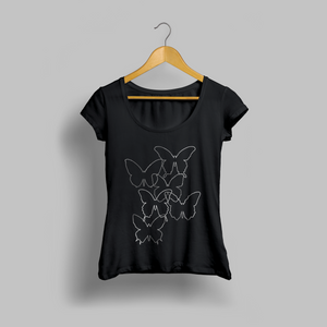 Enhanced Music - Black Tritonal Butterfly Womens T-shirt