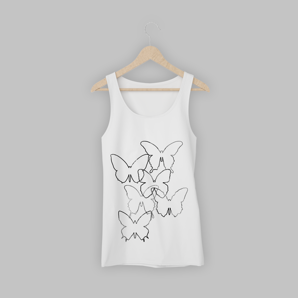 White Tritonal Butterfly Womens Vest
