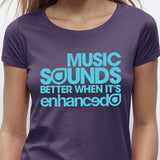 Womens Music Sounds Better When It's Enhanced - Plum / Blue