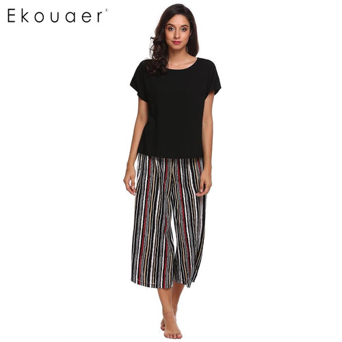 Ekouaer Women Casual Sleepwear Pajama Set Short Sleeve T-shirt & Loose Striped Pants Pajamas Set Nighties Female Home Clothing