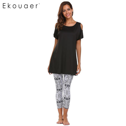 Ekouaer Women Casual Pajamas Set Short Sleeve Cold Shoulder T-shirt and Print Calf Pants Hollow Out Nightwear Female Sleepwear