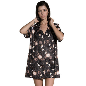 Anself Vintage Women Mini Loose Dress Short Sleeves V-Neck Moon Planet Print Casual Straight T-Shirt Dresses Black Satin Dress