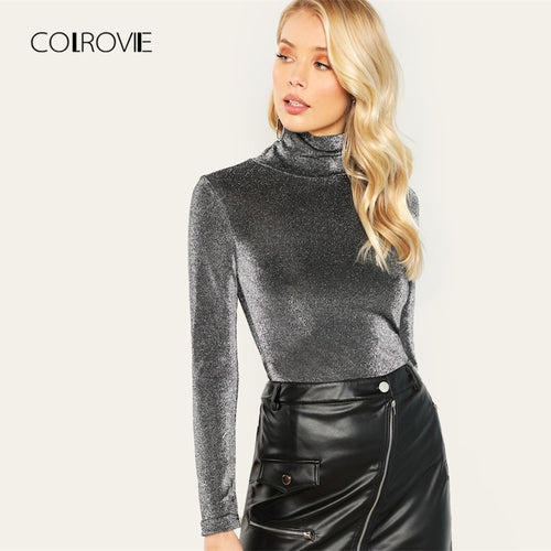 COLROVIE Silver High Neck Slim Glitter Elegant T-Shirt Women Clothes 2018 Autumn Long Sleeve Shirts Office Ladies Femme Tops Tee