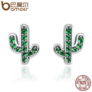 BAMOER Hot Sale 925 Sterling Silver Dazzling Green Cactus Crystal Stud Earrings for Women Authentic Silver Jewelry Bijoux SCE097