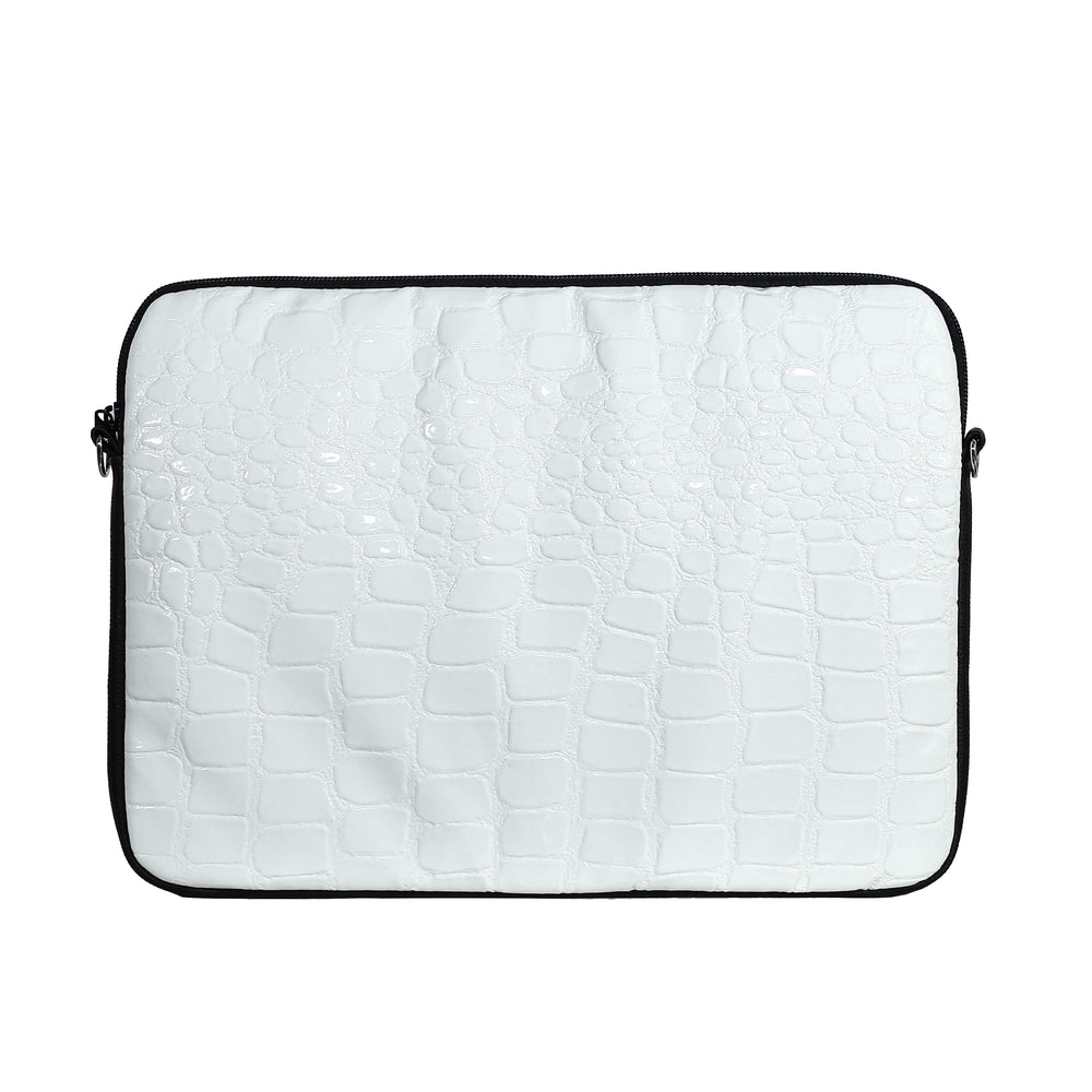 White Croc & Black Laptop Case 13-14