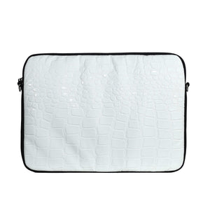 White Croc & Black Laptop Case