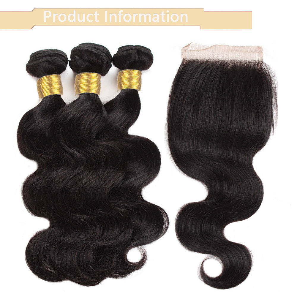 Cameraing Brazilian Human Virgin Hair Body Wave Hair 4 Bundles with 4*4 Lace Closure 10