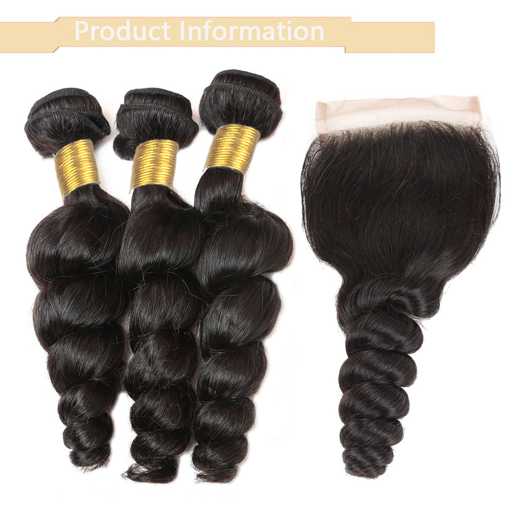 Cameraing Brazilian Human Virgin Hair Loose Wave weft with closure 3 Bundles with 4*4 lace closure 7