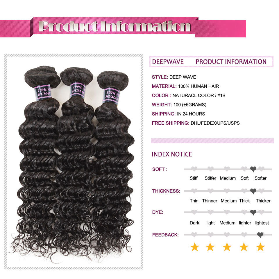 Ishow Peruvian Deep Wave Virgin Human Hair Bundles