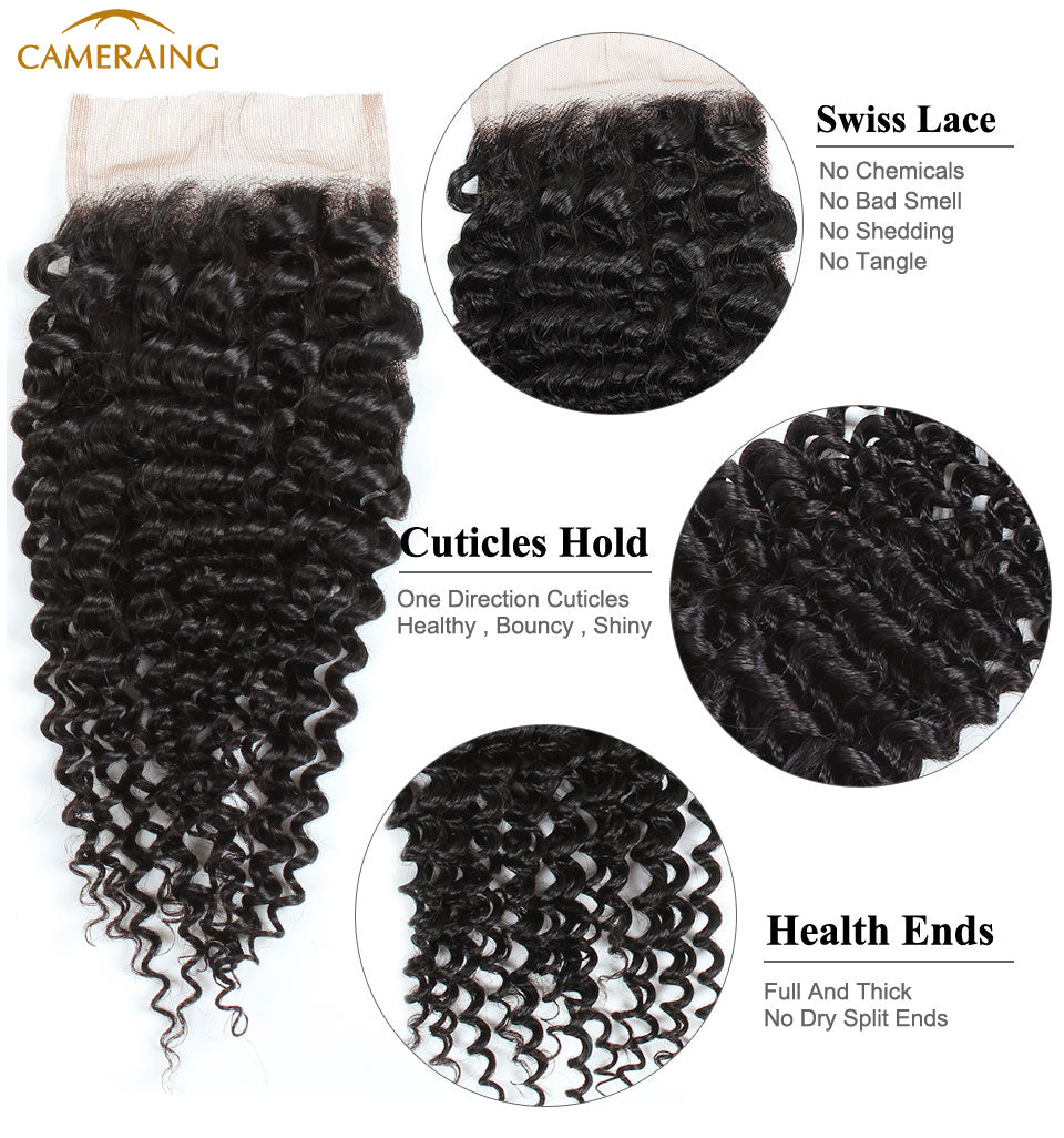 Cameraing Indian Human Virgin Hair Kinky Curly weft with closure 3 Bundles with 4*4 lace closure 9