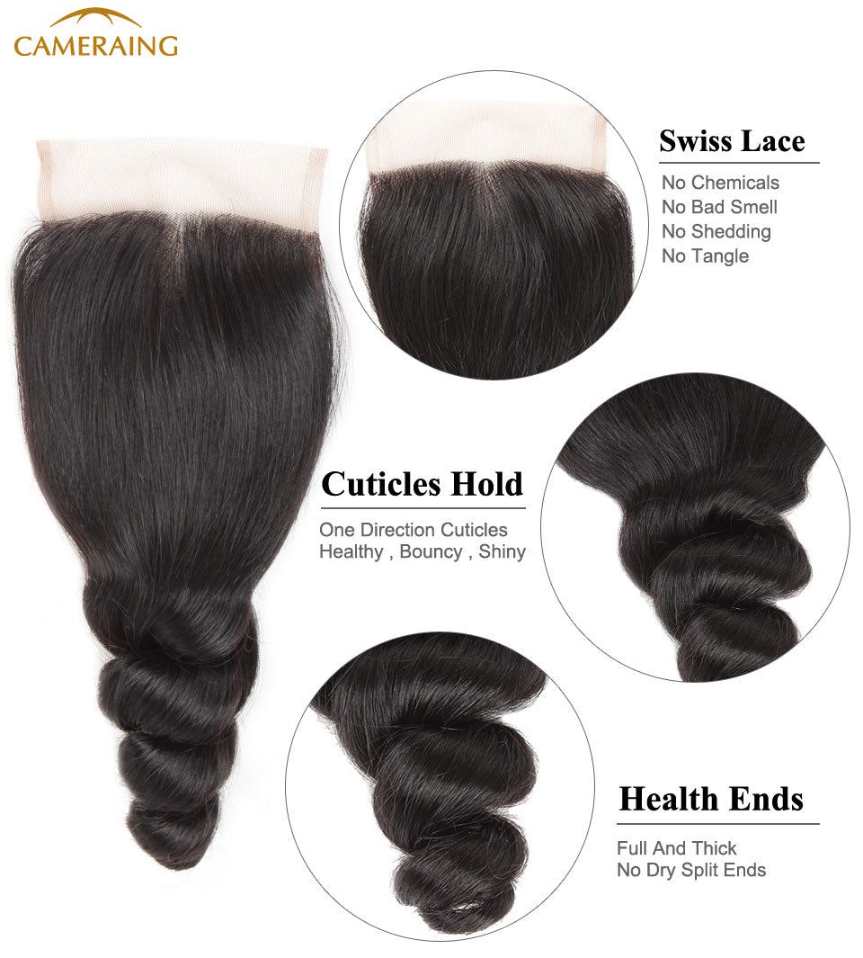 Cameraing Brazilian Human Virgin Hair Loose Wave weft with closure 3 Bundles with 4*4 lace closure 8
