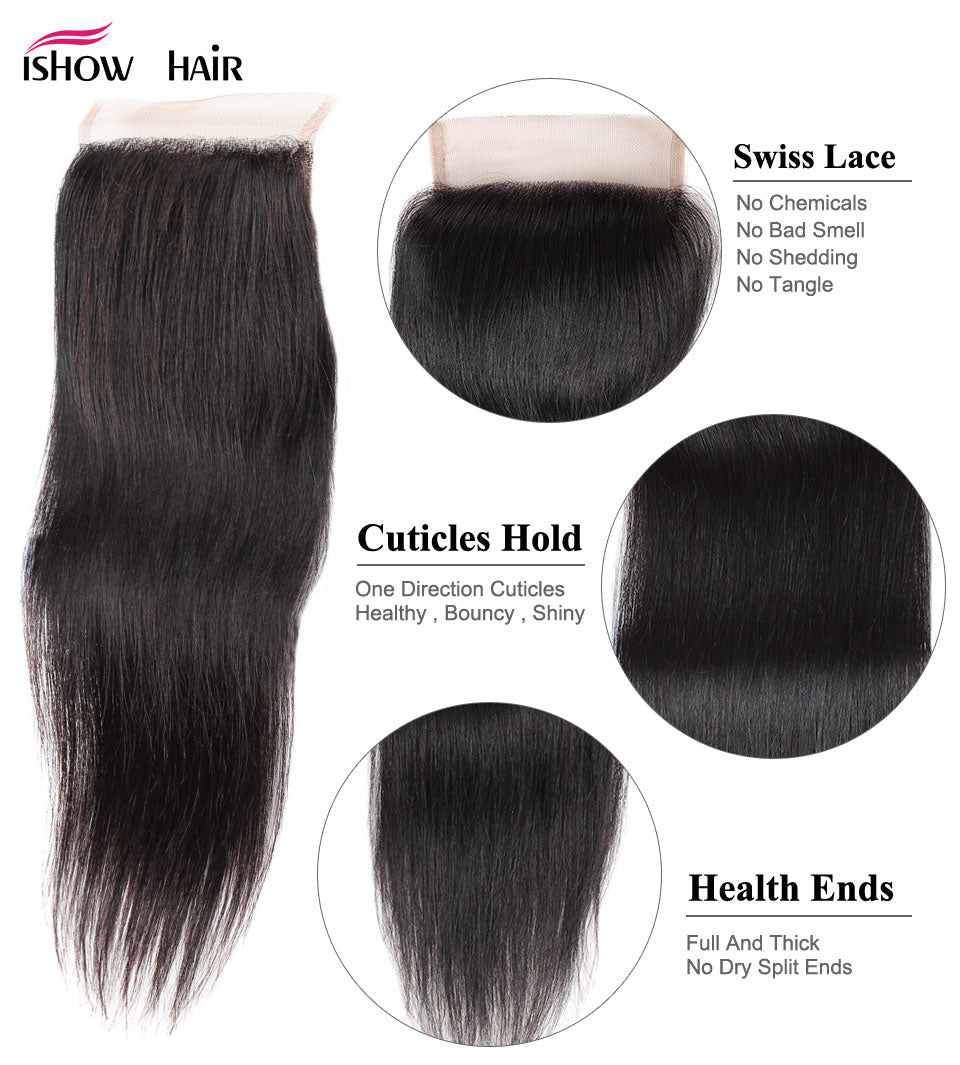 Ishow Peruvian Straight Human Hair 4 Bundles with Lace Closure