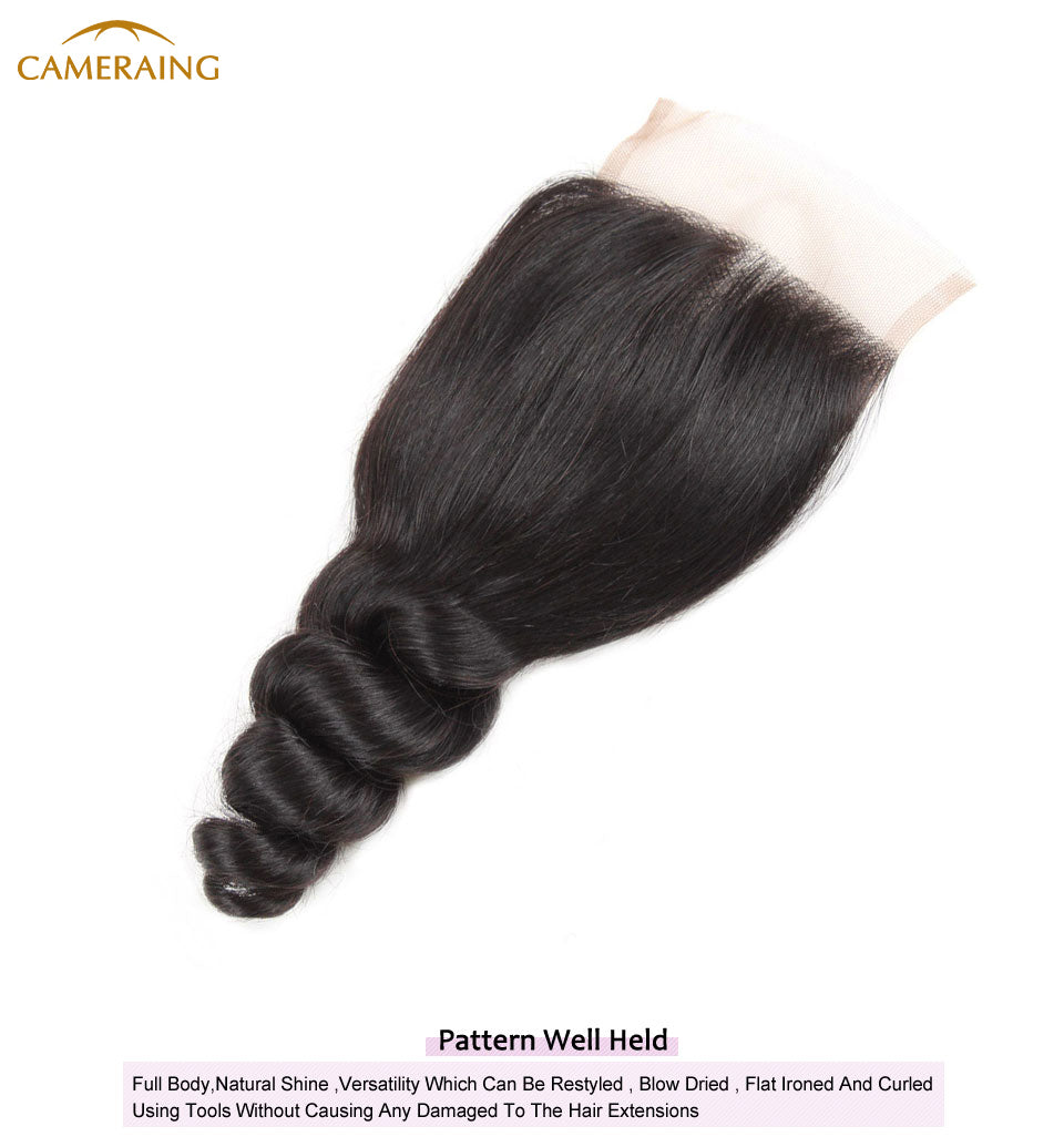Cameraing Brazilian Human Virgin Hair Loose Wave weft with closure 3 Bundles with 4*4 lace closure 9