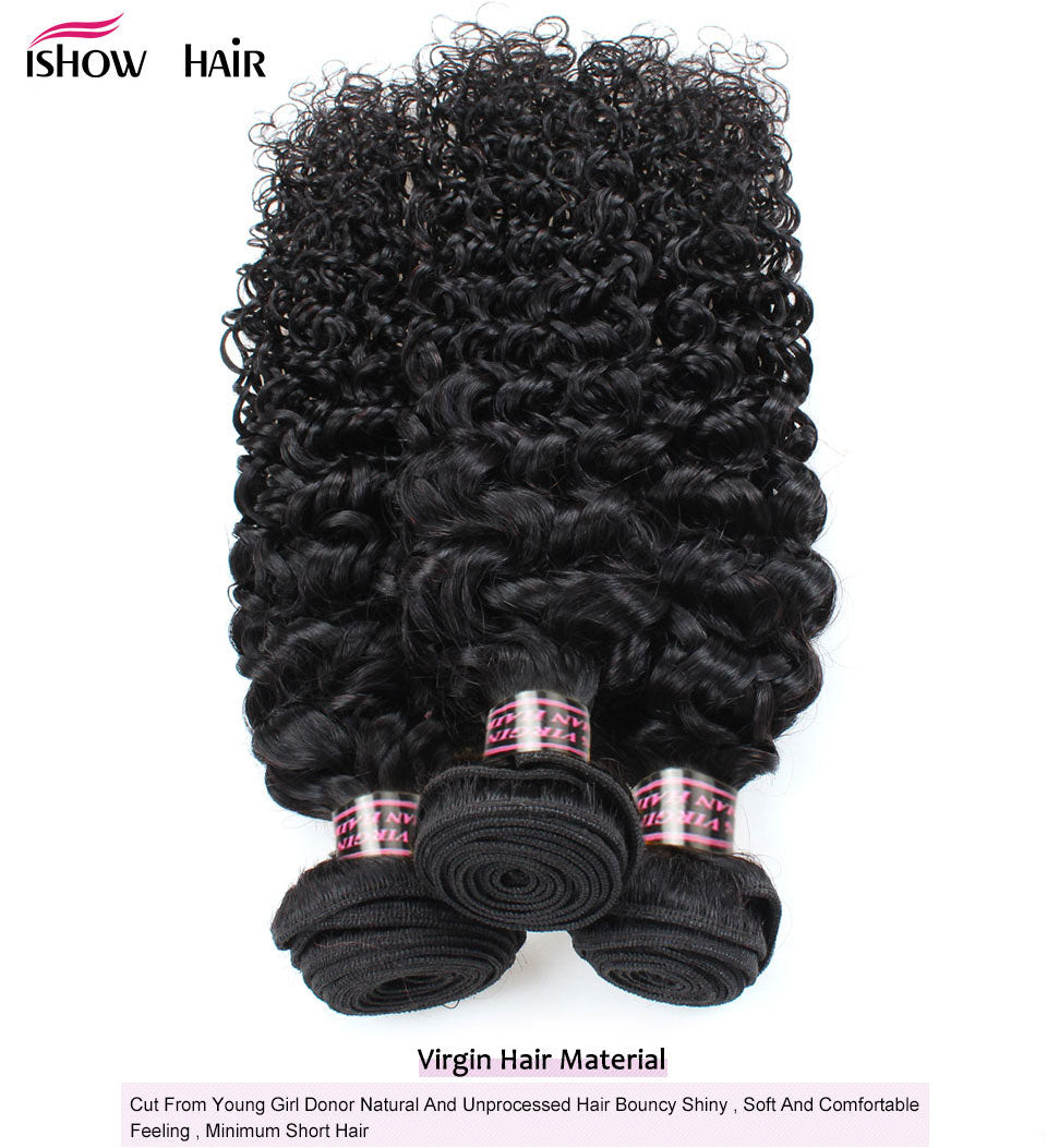 Ishow Peruvian Virgin Curly Human Hair Extensions 3pcs/lot