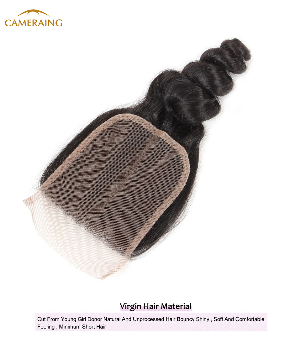 Cameraing Brazilian Human Virgin Hair Loose Wave weft with closure 3 Bundles with 4*4 lace closure 10