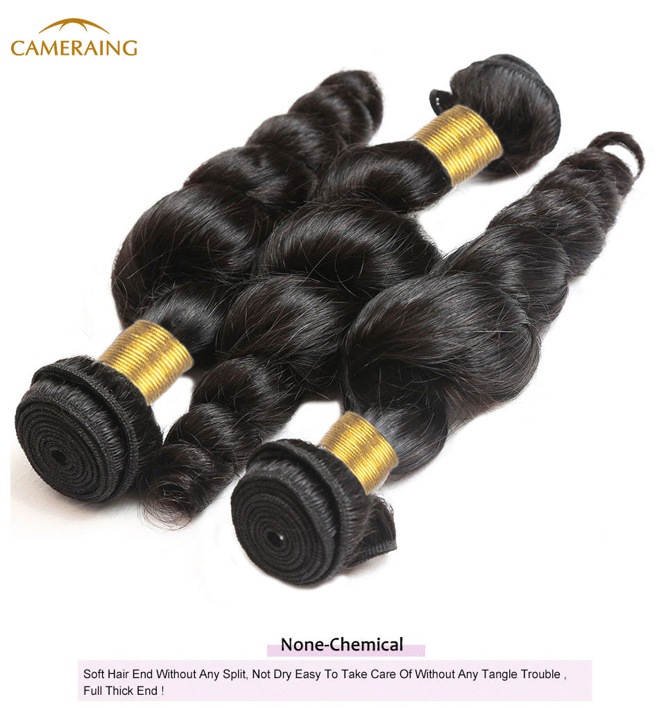 Cameraing Brazilian Human Virgin Hair Loose Wave weft with closure 3 Bundles with 4*4 lace closure 11