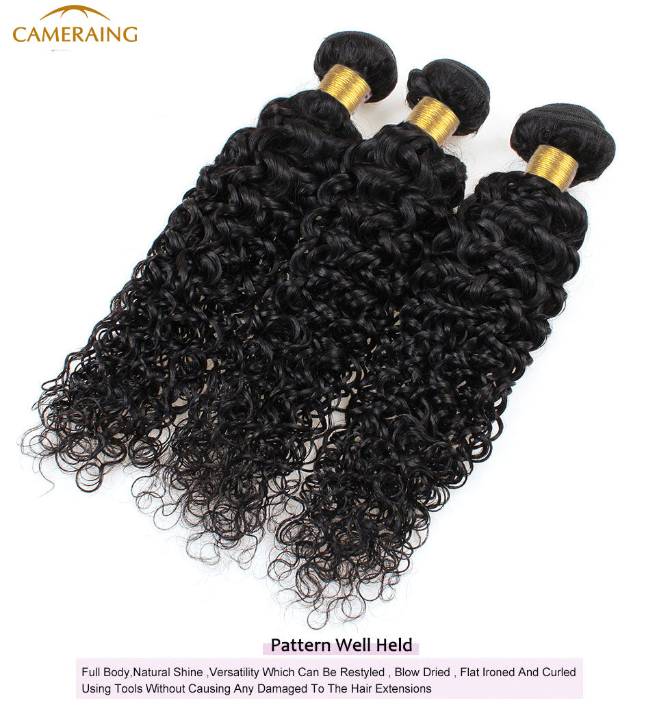 Cameraing Indian Human Virgin Hair Kinky Curly weft with closure 3 Bundles with 4*4 lace closure 10