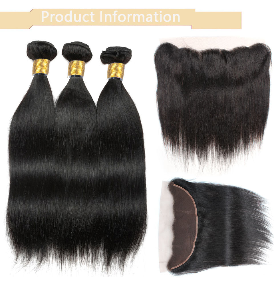 Cameraing Indian Human Virgin Hair Straight Hair 3 Bundles with Ear to Ear Lace Frontal 8